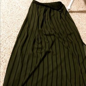 Army Green Stripped Skirt
